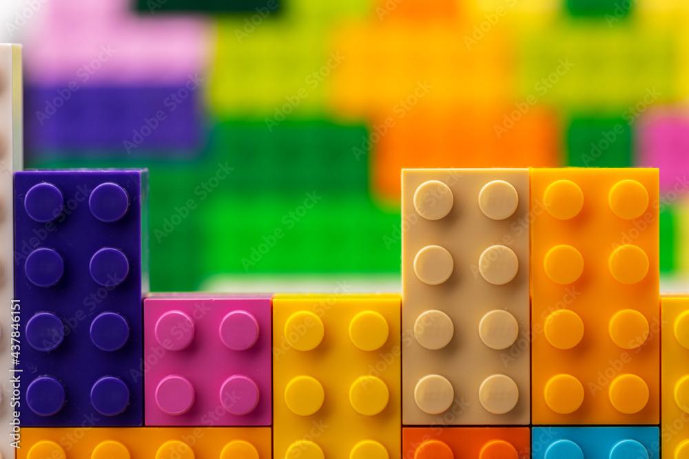 Leinwandbild Motiv - fotofabrika : Colorful plastic toy building kit details close up