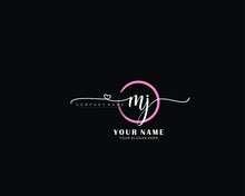 MJ Initial Handwriting Logo, Hand Drawn Template Vector