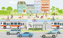 Öffentlicher Verkehr Mit Linienbus, Radfahrern Und Fußgänger  Illustration