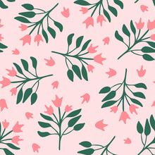 Cute Botanical Seamless Repeat Pattern. Random Placed, Pink And Green Abstract Flowers With Leaves All Over Surface Print.