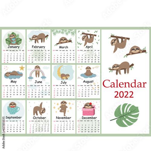 Fototapeta premium Calendar for 2022 cute Sloth characters, color vector illustration