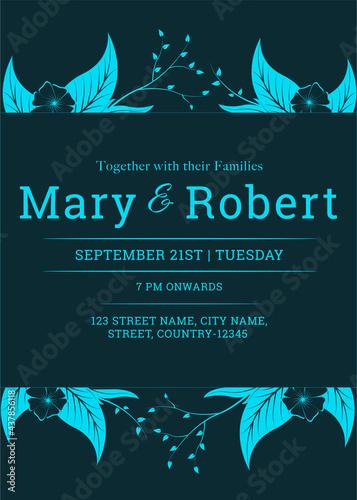 Elegant Wedding Invitation Card With Venue Details In Teal Blue Color Fototapet