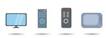 Remote Control And Tv Vector Clip Art Set. Remote Control And Tv Vector Clip Art Set. Remote Control And Tv Vector Clip Art Set.