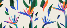 Abstract Pattern With Strelitzia Flower. Creative Collage Contemporary Seamless Pattern. Fashionable Template For Design.