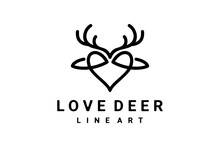 Vector Logo Design Combination Deer And Love With Line Art Style