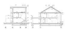Private House Section, Detailed Architectural Technical Drawing, Vector Blueprint