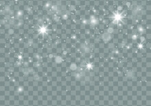 White Sparks And Glitter Special Light Effect. The Dust Sparks And Golden Stars Shine With Special Light. Christmas Flash. Sparkling Magical White Dust Particles. Blurred Effect Bokeh. Vector.