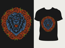 Illustration Lion Head With Rose Flower On T Shirt Design