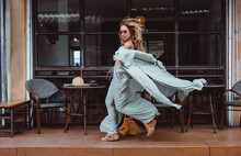Beauty Woman Posing In The Cafe, Outdoor Portrait, Hippy Dress, Boho Style, Dreadlocks, Fashion Model, Pretty Woman, Cute, Coffee, Glasses, Tattoo