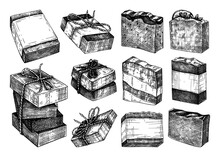 Hand-sketched Aromatic Soap Collection. Vector Illustrations Of Hand-made Soap Bars. For A Beauty Salon Identity, Bathroom Or Spa. Vintage Cosmetics And Perfumery Design Elements