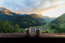 Coffee Time With Gorgeous View On The Beautiful  Jaun, Switzerland