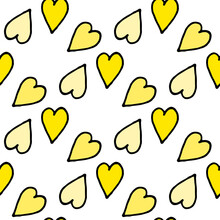 Seamless Pattern In Yellow Hearts On White Background. Vector Image.