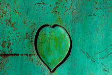 Iron Fence. Heart On The Wicket. The Heart Is On The Metal Fence.