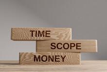 Time Scope Money Wooden Blocks Balance Concept