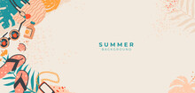 Tropical Summer Vector Banner.Doodle Beach Accessories On Sandy.Vacation Concept With Sunglasses, Palm Leaves, Bag.Top View.Border Frame Design With Copy Space On Beige Background For Media,cover,post