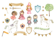Fairy Tale Princess And Knight Watercolor Illustration
