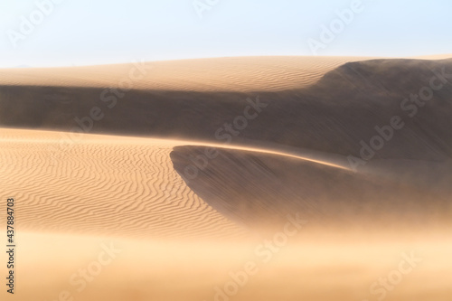 The sand dunes during sunset and strong wind. Summer landscape in the desert. Hot weather. Lines in the sand. Landscape without people. #437884703