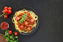 Italian Spaghetti Bolognese On Plate