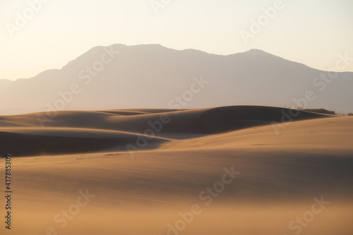 The sand dunes during sunset. Summer landscape in the desert. Hot weather. Lines in the sand. Landscape without people. #437885309