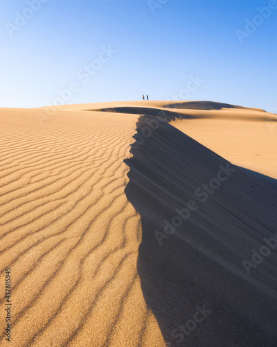 Sand dunes in the evening. Summer landscape in the desert. Hot weather. Lines in the sand. Silhouette of two people walking along the dunes. #437885945