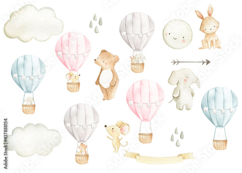 Canvastavla Hot air balloon  watercolor woodland animals set illustration