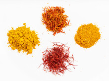 Saffron And Natural Substitutes On White Plate