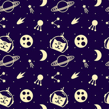 Seamless Pattern With Space And Cats