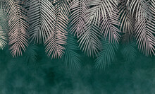 Palm Leaves, Palm Branches, Abstract Drawing, Tropical Leaves.