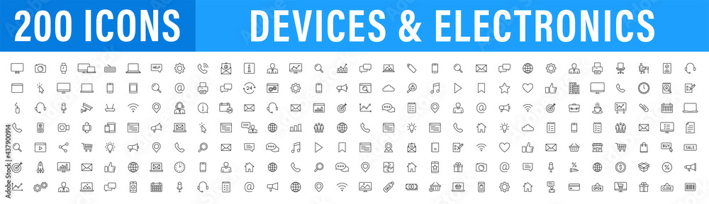 Obraz Set of 200 Technology and Electronics and Devices web icons in line style. Device, phone, laptop, communication, smartphone, ecommerce. Vector illustration. fototapeta, plakat