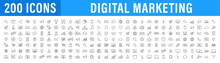 Set Of 200 Digital Marketing Web Icons In Line Style. Social, Networks, Feedback, Communication, Marketing, Ecommerce. Vector Illustration.