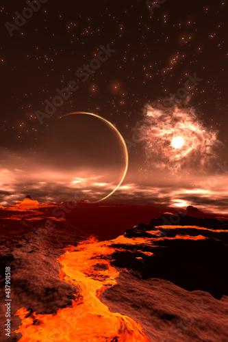 Valokuvatapetti Artistic 3D  illustration of a cosmic scene