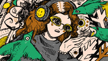 Girl In A Headphones And Glasses. Green Birds Around.