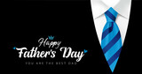 Happy Fathers Day You are the best Dad calligraphy with blue striped necktie and men's suit. Father's day vector greeting illustration with hand drawn lettering, elegant striped tie and black costume