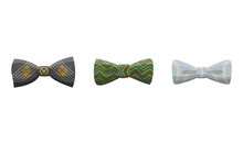 Collection Of Bow Ties. Clothes Design Element Over Isolated On White Background. Fabric Items For Male Wardrobe In Elegant Style