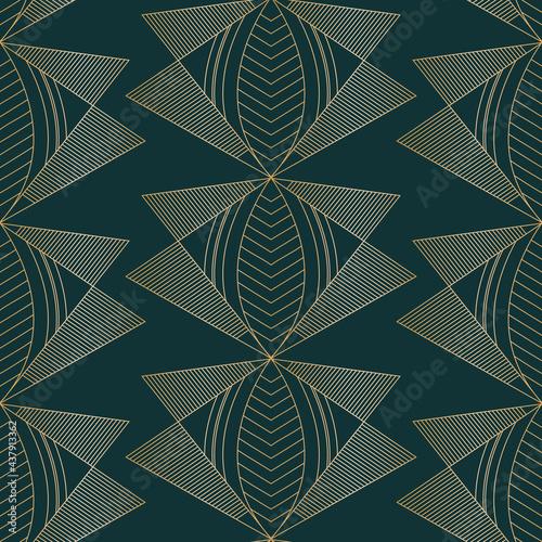 Fotografía Vector golden moths art deco dark seamless pattern