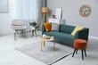 Leinwandbild Motiv Modern living room interior with stylish comfortable sofa