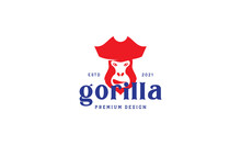 Cartoon Gorilla Pirates Vintage Logo Symbol Vector Icon Illustration Graphic Design