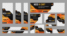 Set Of Rental Car Web Banners Of Standard Size With A Place For Photos. Vertical, Horizontal And Square Template. Vector EPS