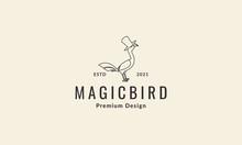 Lines Simple Bird Vulture With Hat Magic Logo Symbol Vector Icon Illustration Graphic Design