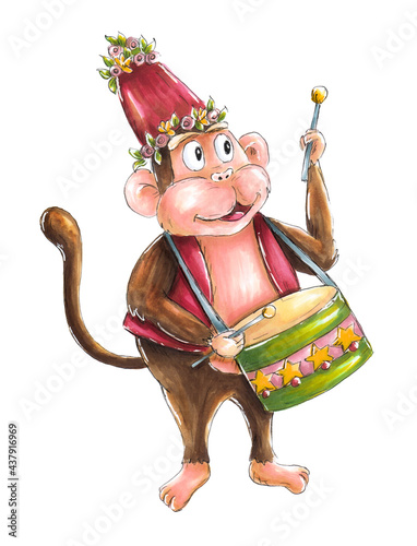 Circus monkey in waistcoat with drum. Isolated, white background. Fototapeta