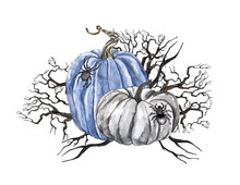 Watercolor Halloween Creepy Jack O Lantern Pumpkins Composition, Dead Tree Branches, Spiders, Isolated On White Background.
