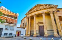 Impressive Neo-Classical Facade Of Santa Victoria Church, Cordoba, Spain