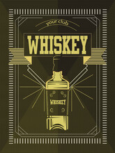 Vintage Geometric Frame With Stylised Whiskey Bottle Or Beverage Product. You Can Apply This For Another Product Such As Beer, Wine, Shop Decoration. Vector Illustration