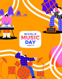 World Music Day poster diverse people band art