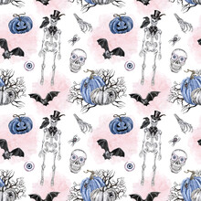 Vintage Goth Style Halloween Creepy Print. Watercolor Hand Painted Skeleton, Raven, Spooky Pumpkins, Flying Bats, Skull. Day Of The Dead Night Illustration.