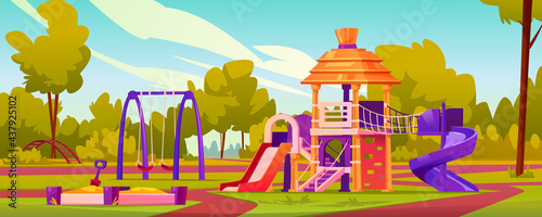 Fototapeta premium Children playground at yard of kindergarten. Garden with swings and slides for kids, sandbox with sand and toys. Leisure and activities for pupils, playing games. Cartoon vector in flat style