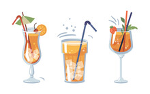 Alcoholic Or Non-alcoholic Beverages Served With Ice And Decorative Straws And Umbrellas. Drinks With Strawberry And Cherry, Slice Of Orange. Bar Or Restaurant Menu. Vector In Flat Cartoon Style