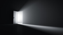 Open Door To A Room With Bright Light.