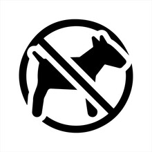 No Pets Allowed Icon, Black. Vector And Glyph
