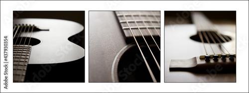 Fotografie, Obraz Acoustic guitar triptych detail view